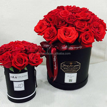 Wholesale Retail Cardboard black gift round flower packaging shipping box
