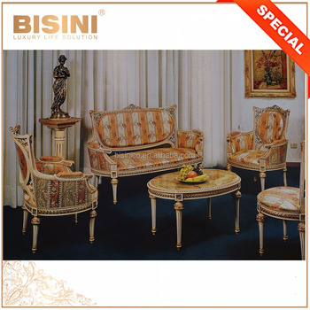 Lovely Italy Rococo Style Sitting Room Settee and Lounge Chair Set Matched with Marble Table
