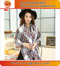 Women oversized plaid blanket scarf