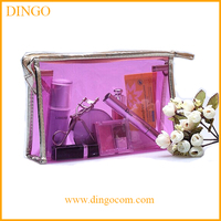 Fashion promotional clear PVC cosmetic bag, PVC vanity bag with zipper