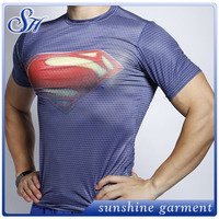 2016 wholesale Superman men's compression tee gym fitness sportswear tight top