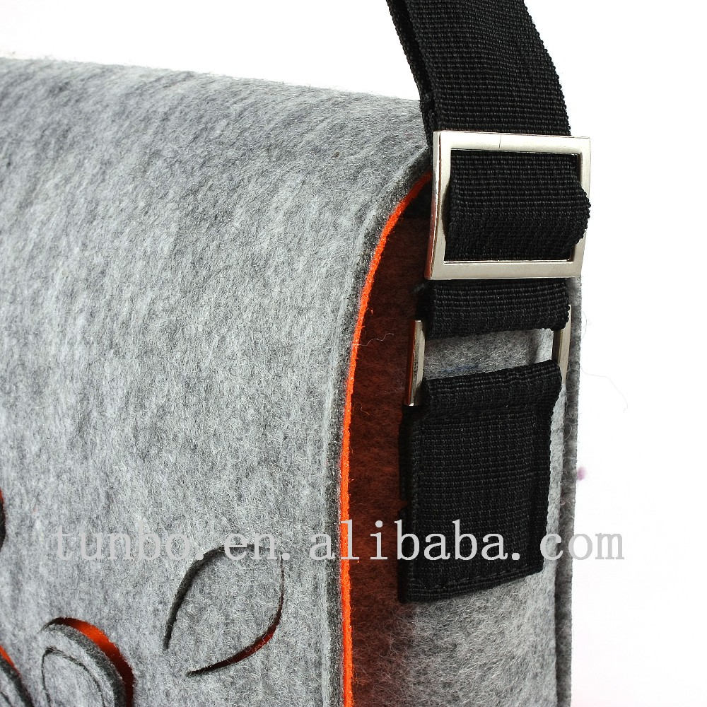 Recycled felt laptop messenger bag