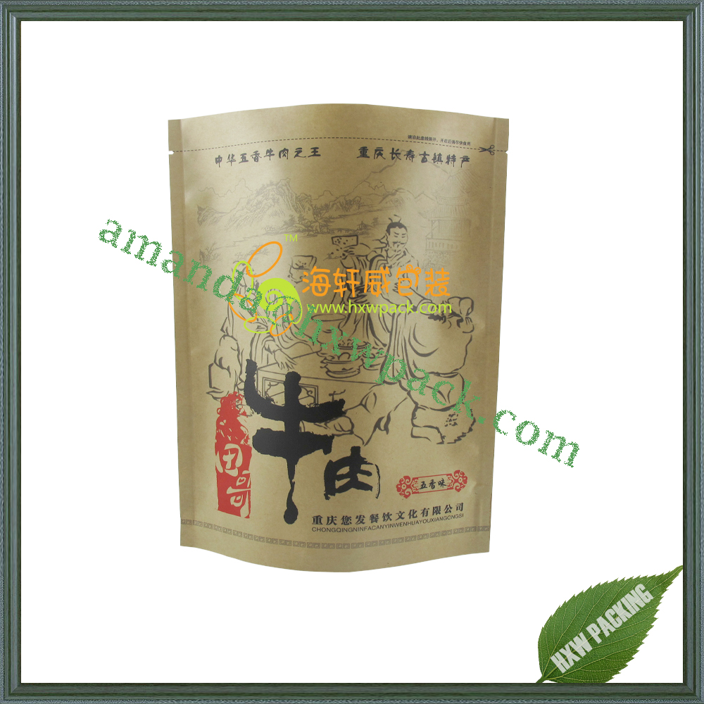 oem production customized brown paper food packaging bag for snack