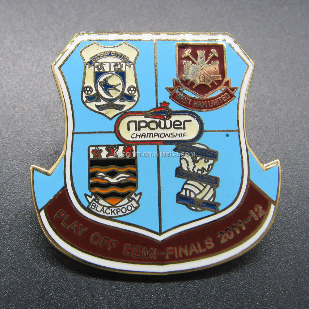 Customized metal imitation hard enamel sports badge with PLAY OFF SEMI-FINALS