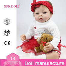 NPK DOLL Silicone Reborn Baby Dolls for sale 22 inch Cloth Body Vinyl Baby bebe reborn Christmas Gift for girls