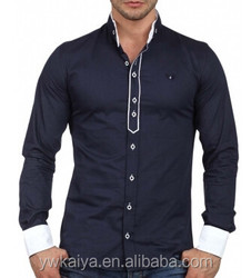2014 latest casual stand collar french cuff cotton men shirt fancy design