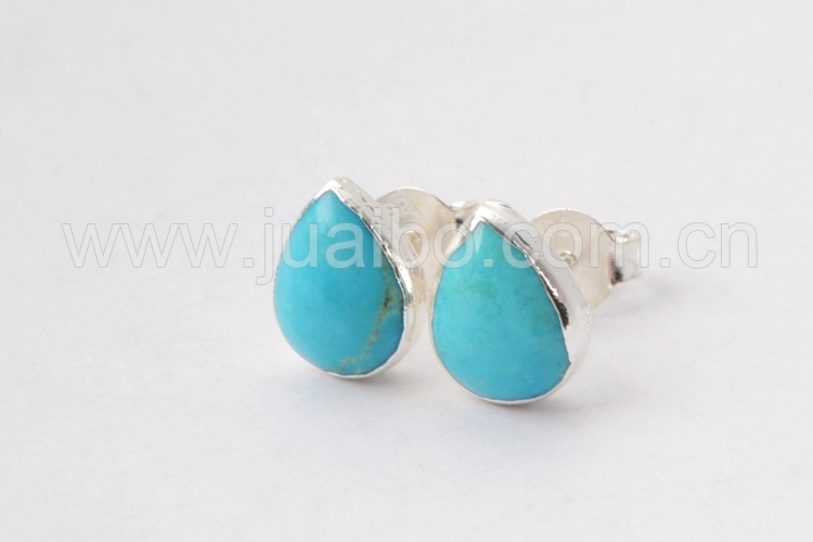 SS182 silver earrings wholesale, natural stone gem turquoise earrings