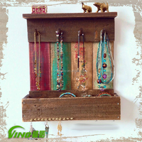 Popular Wall Mounted Rustic Wood Jewelry Showcases Jewelry Organizer Wall