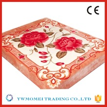 Rhz062 rose printing light orange thick blankets twin full queen size raschel plaids warm bedsheet winter bed blanket