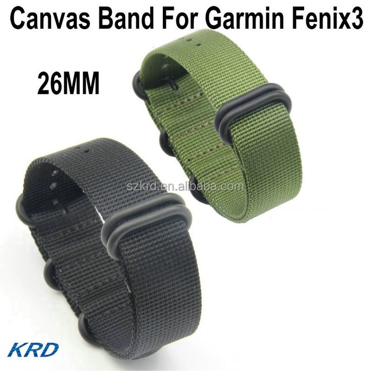 26MM Green Black Outdoor Canvas Watch Band Sport Strap For Garmin Fenix3 Fenix 3 Smart Watch