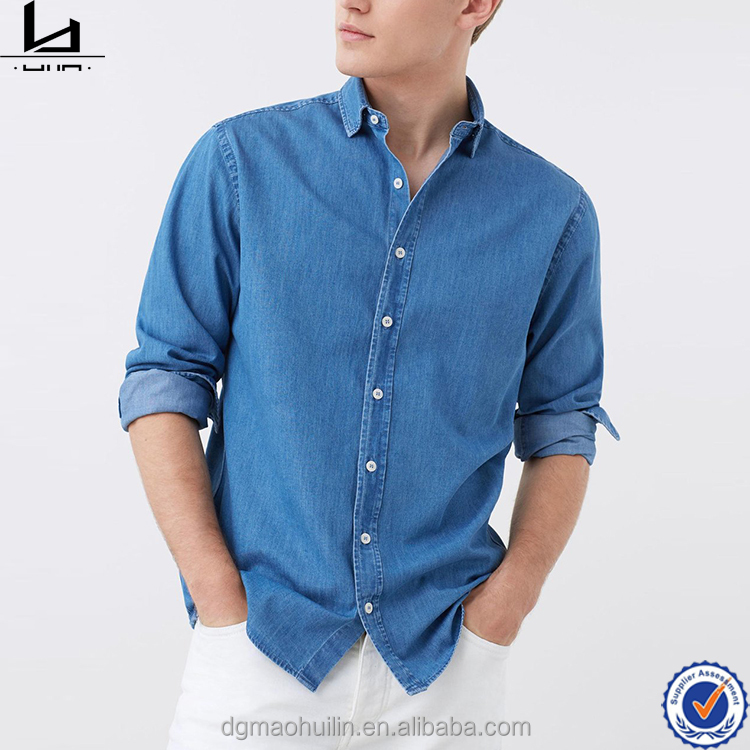 Hot sell long sleeve latest cool blue shirts pattern for men pictures