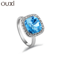 OUXI 2016 Fashion Female Jewelry Blue Crystal Diamond CZ Ring