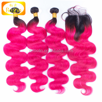 Ombre 1B Hot Pink Hair Body Wave Brazilian Two Tone Ombre Hair With Lace Closure