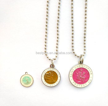 Ball Chain Round 3D Transparent Enamel Saint Christpher Medal Jewelry