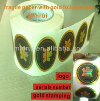 Custom special tamper evident gold stamping hologram stickers,breakable paper high security printing