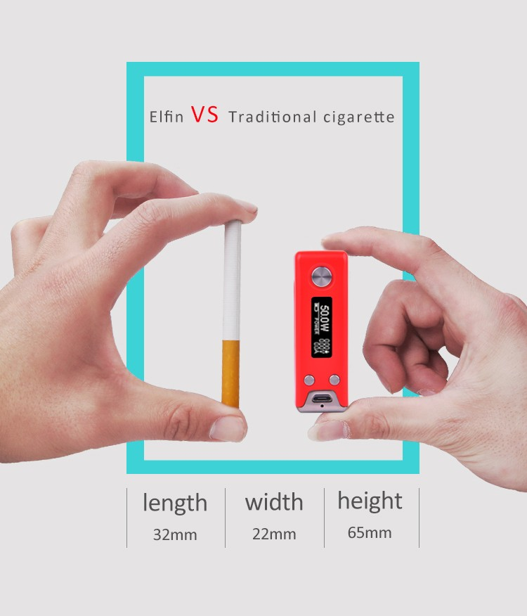 2016 S-body hottest Elfin 50w electronic cigarette orgrin mod with top quality