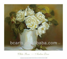 High quality pure hand-painted white vase white rose flower oil painting