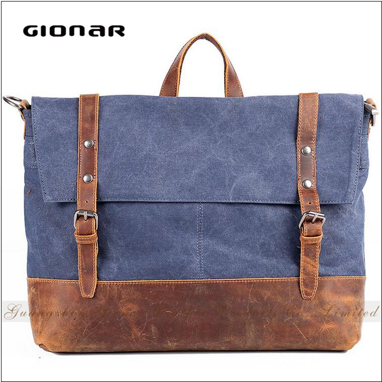 The Best Seller Duurable Canvas with Crazy Horse Leather Men Messenger Bag For Laptop