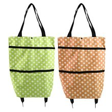 Portable Folding Wheel Shopping Bag Rolling Grocery Cart Tote Bag