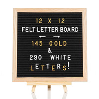 10x10 Inches Black Changeable Oak Wood Felt Letter Board with 340 Letters