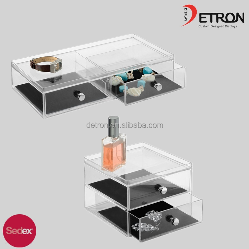 High Quality Drawer type Transparent Acrylic Used Glass Jewelry Display Cases