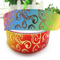 New design heat tansfer and gold printing grosgrain ribbon manufacturer