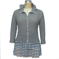 customized size Eco-Friendly casual ladies pleated shirt