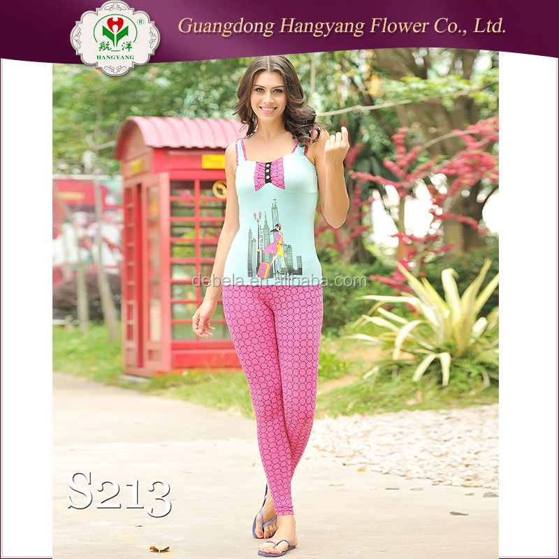 Stylish printed modal sexy bedroom night wears pajama lady nightwear