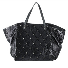 China Suppliers Wholesale Fashion Style Sequin and PU Leather Handbag Shopping Tote Bag