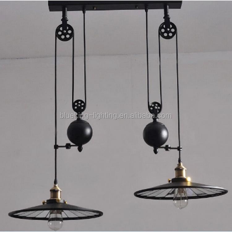 bk1036 p 2la antique industrielle lampe avec lentille m tal plafonnier poulie de haut en bas. Black Bedroom Furniture Sets. Home Design Ideas