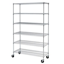 Senior Commercial Metal Storage Wire <strong>Shelf</strong> Durable Shelving Rack with Wheels