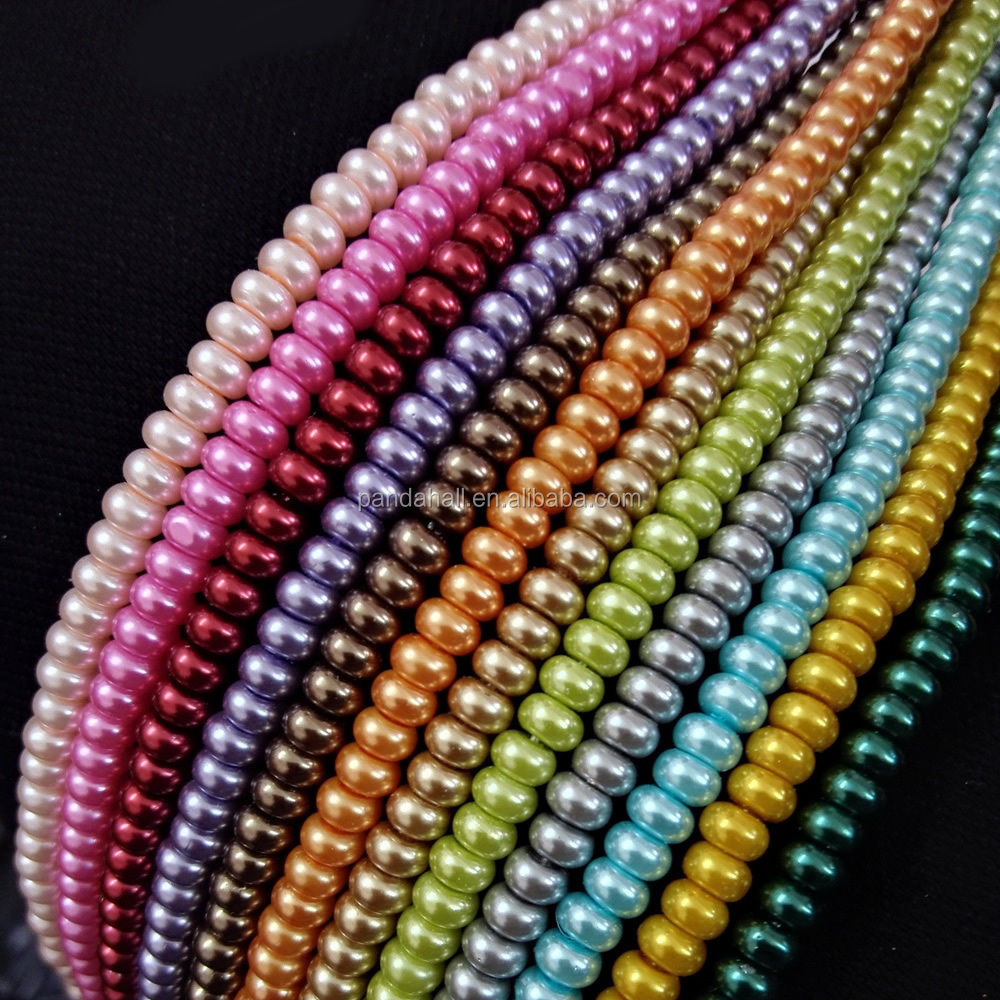 Environmental Spray Painted Glass Abacus Bead Strands, Glass Pearl, with Thick Cotton Thread