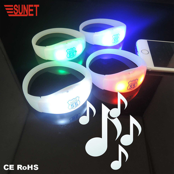 Glow in the Dark Silicone Wristband Party Glasses Sound Activated Led Bracelet