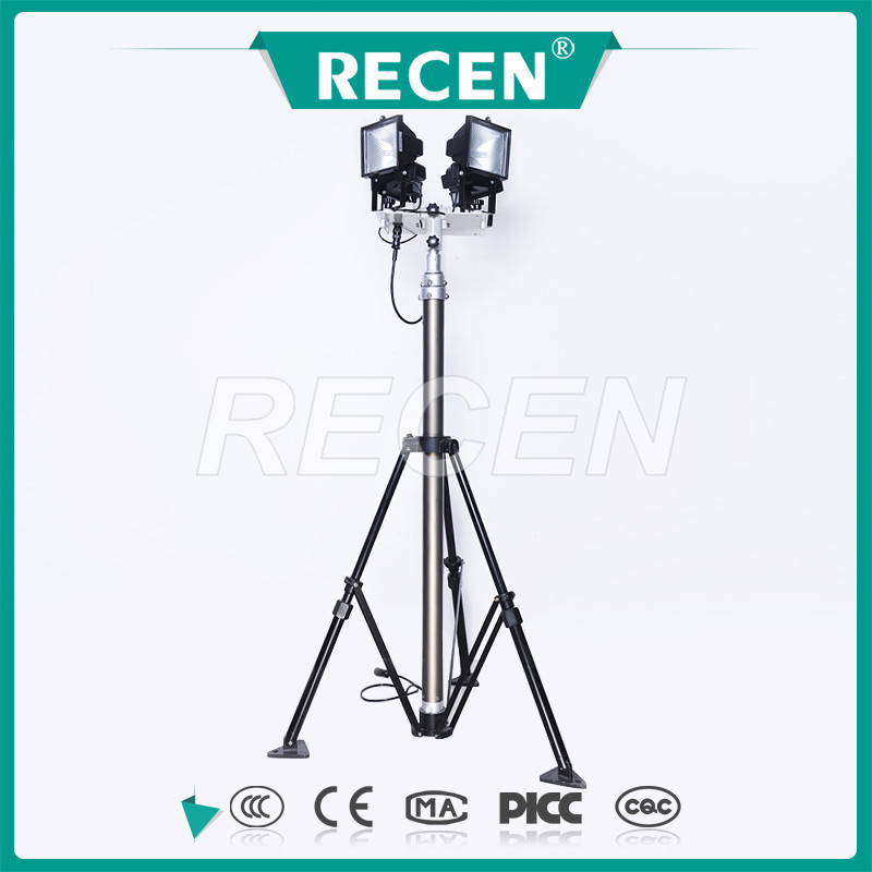 4*500w portable scalable high mast floodlight tripod stand, work light