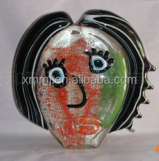 Modern Hand made blown art abstract women face tabletop decoration murano glass liuli crafts
