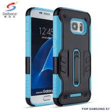 Metal kickstand tpu pc hybrid mobile phone case for sumsung s7,for samsung galaxy s7 cover blue