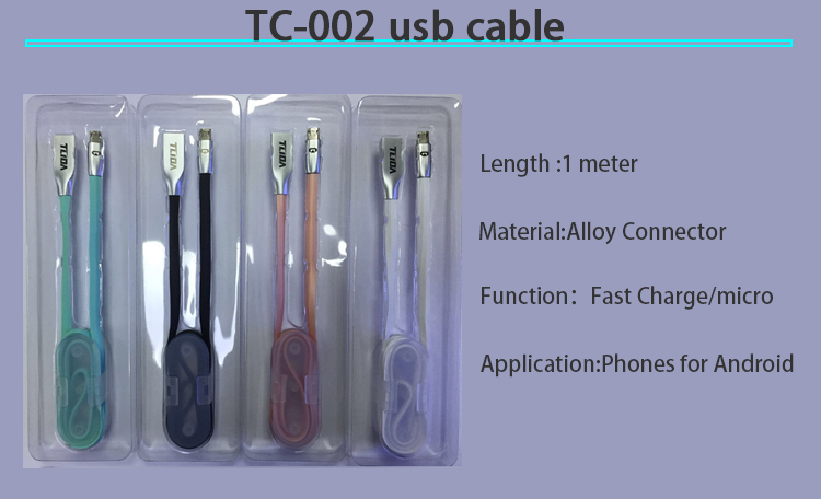 Alloy connector powered mobile phone micro usb charger cable