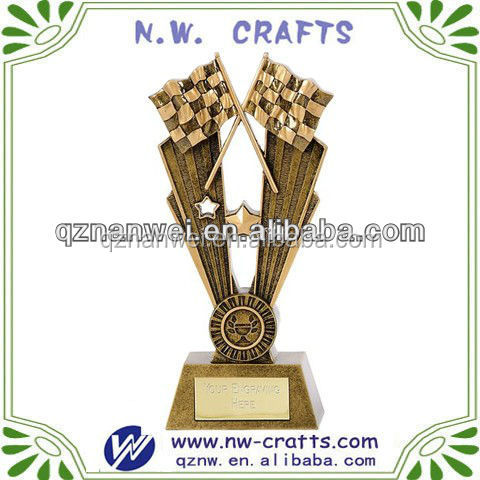 Resin motorcycle cross flags trophy