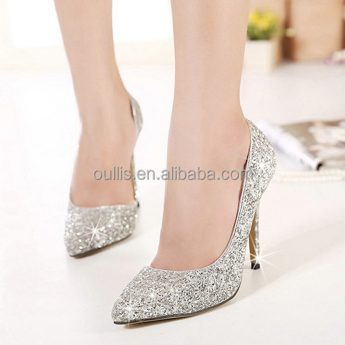 shiny gold and silver ladies wedding shoes guangzhou manufacturer shoes PE3737