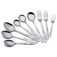 High quality restaurant metal sliver flatware spoon and fork stainless steel cultery set