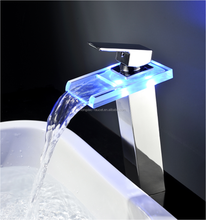 2018 Hot Sale LED Light Glass Spout Basin Faucet