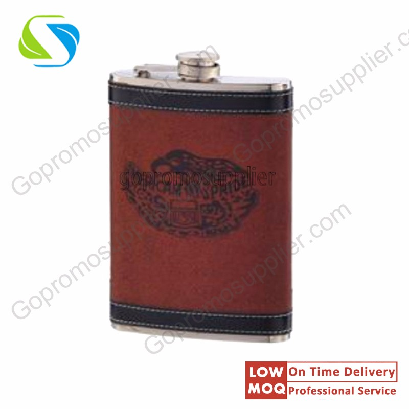 Wholesale customized cheap skin-wrapped hip flasks