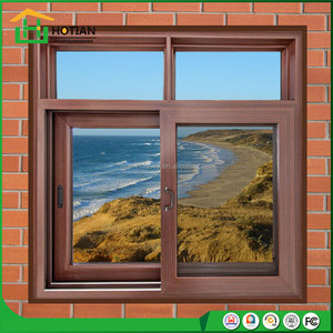 Aluminum clad solid wood sliding window,bangladesh window aluminum for Villas House With Mosquito Net