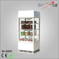 360 degree full transparent display cabinet with light box