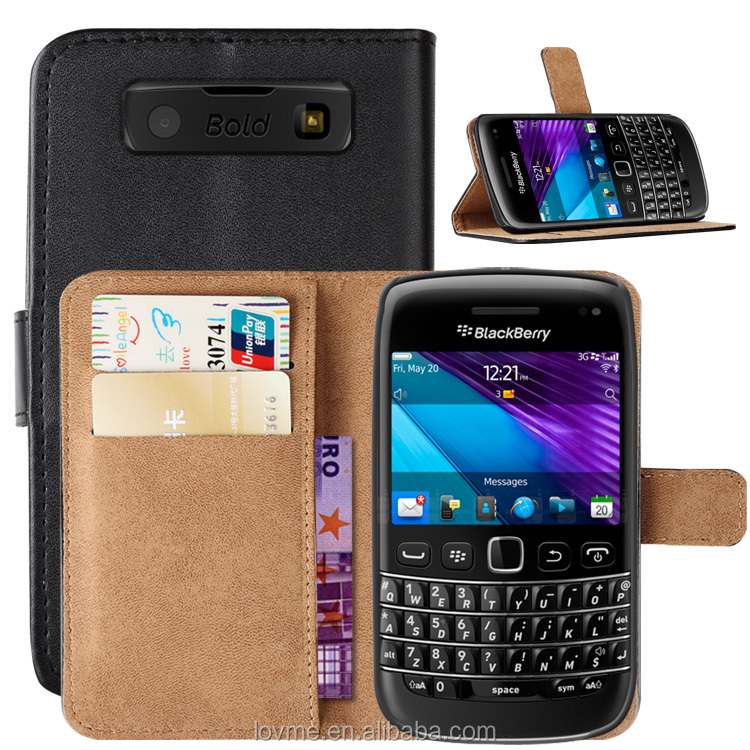Black Pu Leather Wallet Credit Card Slot Case Cover For Blackberry Bold 9790