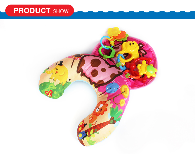 Wholesale high quality cute style animal pattern soft baby pillow with funny small toys