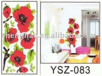 Modern removable decorative wallpaper with flowers pvc sticker