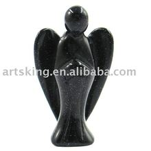 Semi-precious Blue stone Angel Carving with Blue Sand Stone