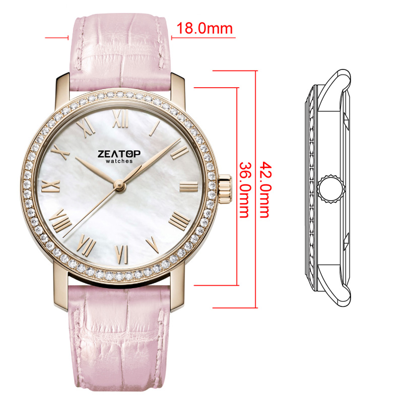 Nickle Free CE RoHs Gold Plated Wrist Watch Women