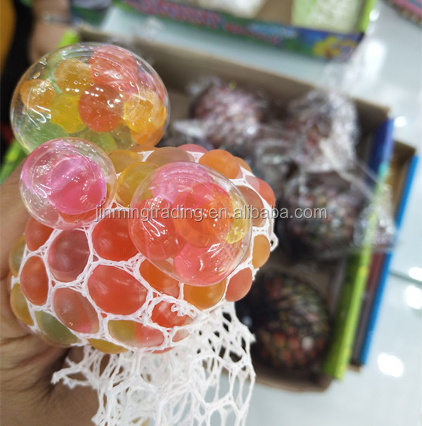 Mesh Squishy Water Beads Ball Rubber Vent Grape Stress Ball Squeezing Stress Relief Ball